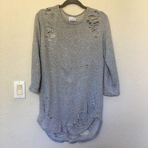 Better Be heavily distressed gray tunic